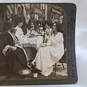 Antique Harvard Radcliffe Stereoview Photos of Comedic Dorm Scene/ set of 3