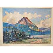 American Watercolor of  Landscape With Mountains~ Listed  Massachusetts Artist~  Signed By J. L. Santoro  (1908-1996)