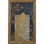 Antique~  Art Nouveau~ Oil Painting On Board~ Young Woman Fishing~ Hand Painted~ Ferns & Flowers