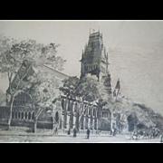 Antique ~ Etching Of Memorial Hall~ Harvard University~ Listed Massachusetts Artist ~ Signed William Goodrich Beal