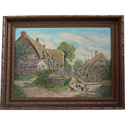Oil Painting  of Country Village Scene With Chickens~ Artist Signed M. Rounds~ Dated 1920