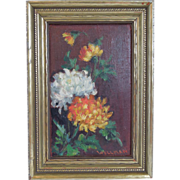 Vintage~ Botanical Oil Painting of Flowers~ Listed Massachusetts Cape Ann Artist, Cora Cutter Wellman, Signed, 1940's