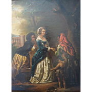 Antique 19th Century ,Biedermeier Era Oil Painting, Of Women & Child With Fortune Teller in A Pastoral Setting, UnSigned