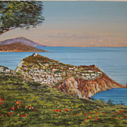 Vintage Gouache Painting of Coastal Landscape of The Island of Capri,  1940's, Signed