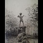 Vintage Etching of Peter Pan In Kensington Gardens, By British Artist Rowland Langmaid, Signed