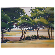 Plein Air Watercolor  Landscape Paintings By American Listed Artist, Janice Holland, Dated 1935