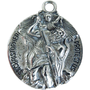 Vintage Large Sterling Religious St. Christopher Medal
