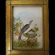 19th Century Theorem Painting On Velvet Of Bird's Nest With Gilt Frame