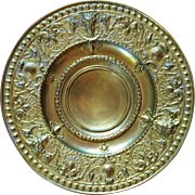 "17"" Solid Brass Art Nouveau Period Charger/Wall Plaque"