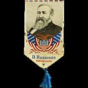 Benjamin Harrison Presidential Campaign Ribbon c.1889