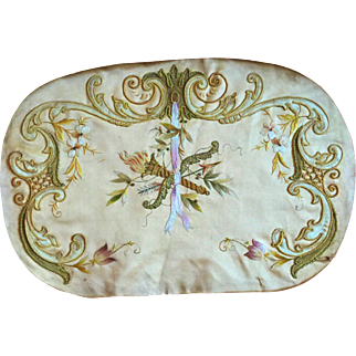 Antique, French, Hand Embroidered, Silk on Silk and gold thread, Cushion Covers