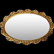 "Matson Oval Mirror Tray, Lg. 20 1/2"", 24k Gold Plate, Rose Pattern"