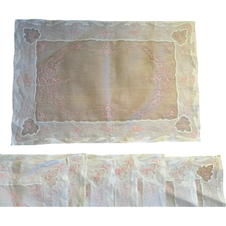 Eight Embroidered Vintage Pink and white Place Mats