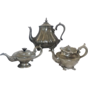 A Trio of Three English Pewter Teapots c. 1860-1880
