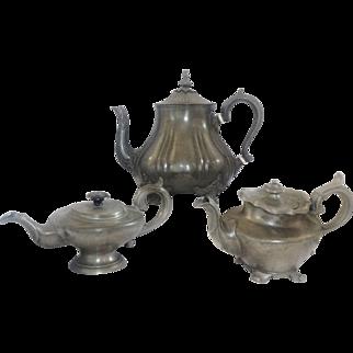 A Trio of Three English Pewter Teapots c. 1860-1880