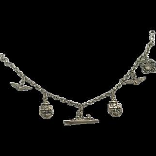 Sterling Silver Charm Bracelet With U S Navy Theme
