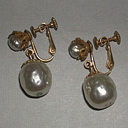 REDUCED Classic Faux Baroque Pearl Drop Screw Back Earrings signed Haskell marked Pat No c. 19