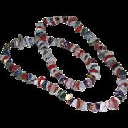 Vintage Multi Colored Red White Blue Polished Chip Gemstones Necklace