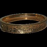 1/20 12K Gold Filled Floral Etched Black Enamel Bangle Bracelet Carl Art marked c. 1940s