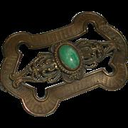 Ornate Brass Sash Pin Brooch Oval Green Cabachon Stone c clasp c. 1890-1910