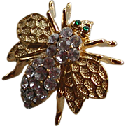 Vintage Clear Faceted Rhinestone Gold Tone Bumble Bee Insect Bug Pin Brooch