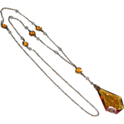 Very Old Faceted Amber Glass Pendant 9k Gold Filled Chain Necklace Sautoir