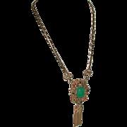 REDUCED Etruscan Revival Fringed Necklace Pendant Kramer of New York marked