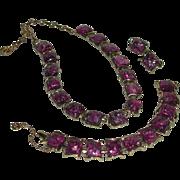 Silver Gold Tone Fuchsia Confetti Lucite Purple Link Necklace Bracelet Clip Earrings Parure Co