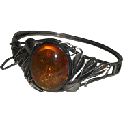 Sterling Hinged Cuff Bracelet Floral Design Large Open Backed Baltic Honey Amber Stone marked