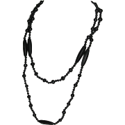 Early Black Satin Glass Bead Downton Abbey Style Necklace 43 Inches Long