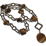 Tiger Eye Cabachon Sterling Link Necklace Mario Taxco Mexico 925 BM marked