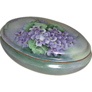 Hand Painted Porcelain Dresser Vanity Box Violet Motif Suffragette Colors Latrille Freres Limoges France marked