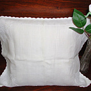 SALE Vintage Early Baby Carriage Sham Boudoir Pillow White on White Embroidered Cutwork
