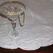 SALE White on White Embroidered Nouveau Design Linen Centerpiece Cloth