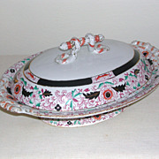 SALE George L. Ashworth & Bros Gaudy Ironstone Tureen Footed with Lid c. 1850