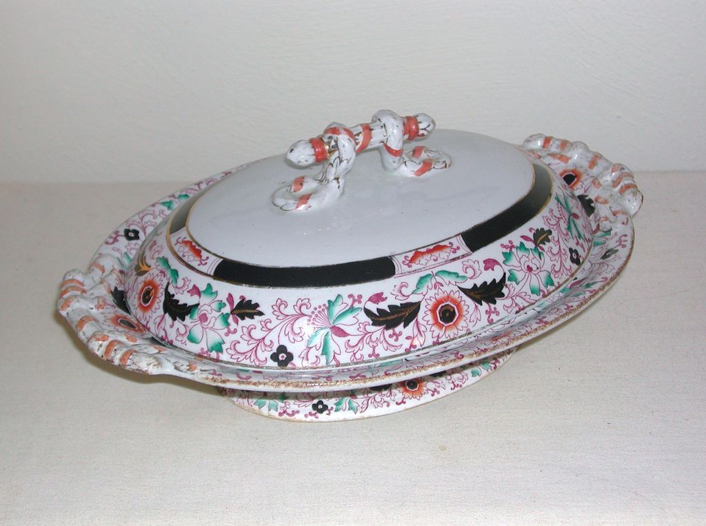 George L. Ashworth & Bros Gaudy Ironstone Tureen Footed with Lid c. 1850