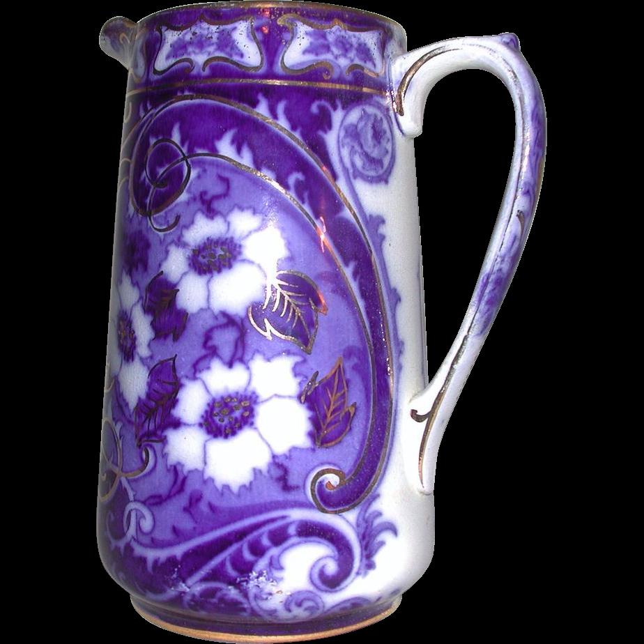 Flow Blue Gold Accent Flower Milk Jug Pitcher Charles Meigh Staffordshire 1800s