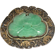 Carved Deep Green Jade Silver Filigree Seed Pearls Brooch Pin marked China c. 1930s