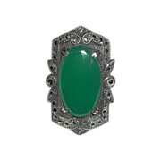 Classic Art Deco Sterling Marcasite Chrysoprase Ring marked c. 1930s