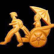 Bakelite Pin/Brooch Asian Theme