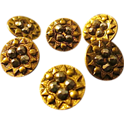 SOLD Set of 6 Stamped Antique Brass Steel Cut Sewing Buttons circa 1800's