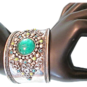 SOLD Large Fab Bohemian Chic Metal Bangle Cuff with Emerald Green Glass Center