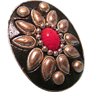 SALE Large Vintage Ethnic Adjustable Ring Floral Motif with Red Cabochon Center