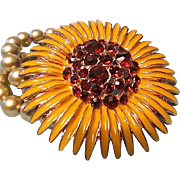 REDUCED Fantastically Large Figural Sunflower Bead Bracelet with AB Rhinestone Center
