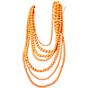 SALE Gorgeous Graduated 7-Strand Coral Hued Bead Necklace