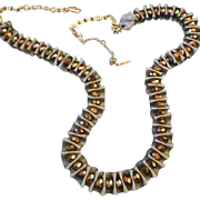 REDUCED Designer Shirred Satin Ribbon & Crystal Glass Bead Statement Necklace by Kenneth Cole