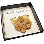 SALE Anne Klein II Fabulous Gold Tone Mesh Rose Brooch/Pin -In Original Box!