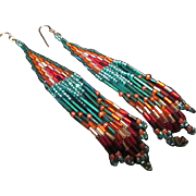SALE Free Ship! Beautifully Patterned Long Seed and Bugle Bead Earrings