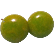 REDUCED Vintage Peas & Creamed Corn Marbleized Bakelite Button Screw-back Earrings circa 1930s