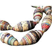 "SALE Colorful Paper Bead 25"" Long Necklace"